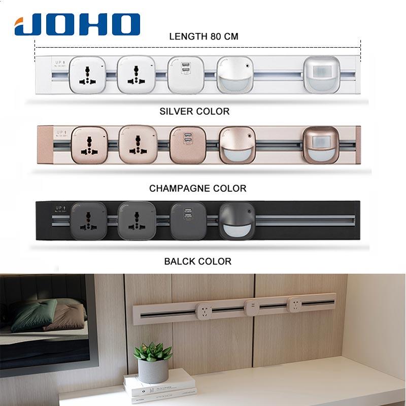 JOHO 80CM aluminium USB prise murale universel Standard maison chargeur mural argent/noir/Champagne adaptateur secteur prise