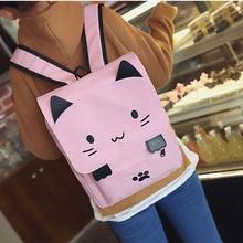 Cute Canvas Backpack Cartoon Cat Embroidery School Bag