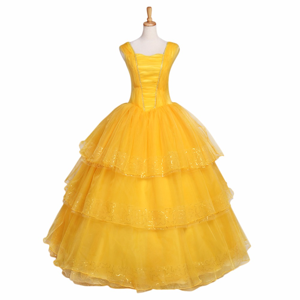 2017 Movie Beauty and the Beast Princess Belle Dress Dancing Party Dress for Ball Gown