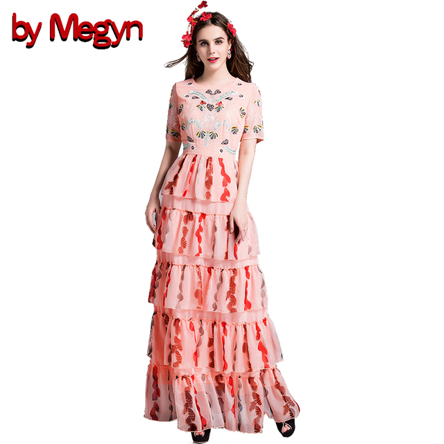 by Megyn women maxi dress floral embroidered round neck tunic cakes ...