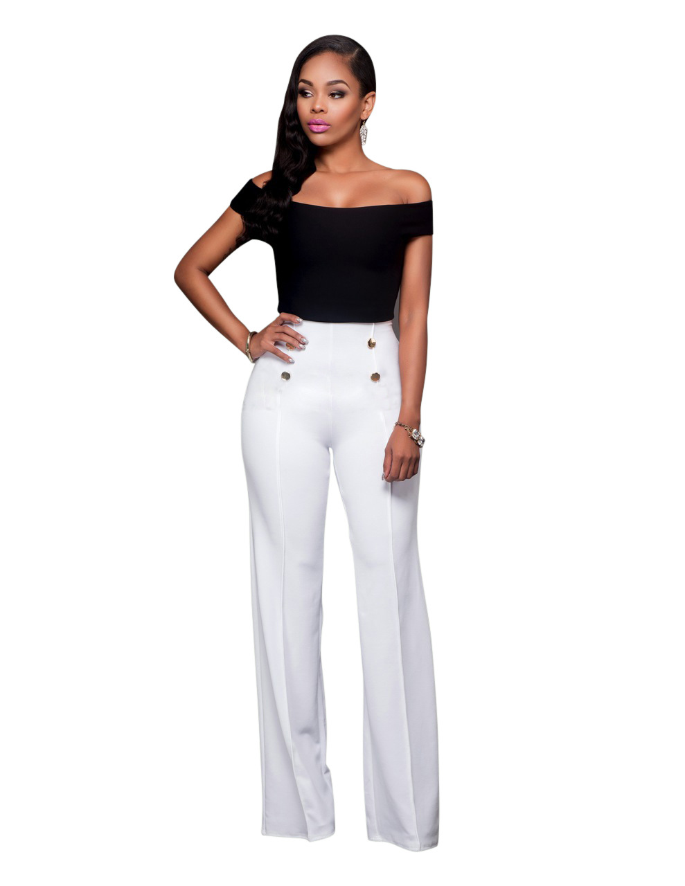 3db96666131 Black High Waisted Pants And Crop Top