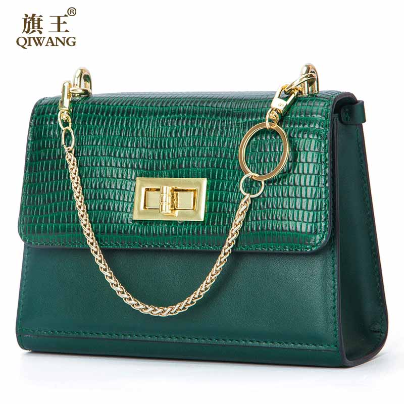 цены Qiwang 2018 Women Handbag Designer Turn Lock Real Leather Bag Fashion Women Gold Chain Shoulder Bag Luxury Fashion Green Bags