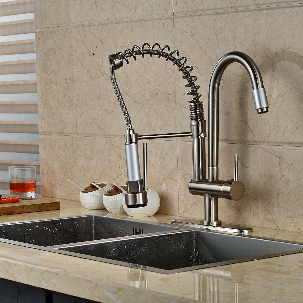 Nickel Brushed Kitchen Faucet Vessel Sink Mixer Tap 2 Spout W/ 8 Plate luxury nickel brushed kitchen faucet vessel sink mixer tap 2 spout w 8 plate