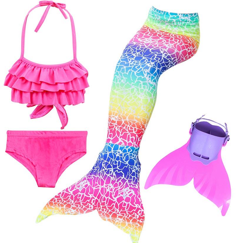 Girls Bathing Suit Swimming Mermaid Tail Swim Monofin Costume Little Children Ariel Mermaid Tail Cosplay Kids Swimwear Swimsuit
