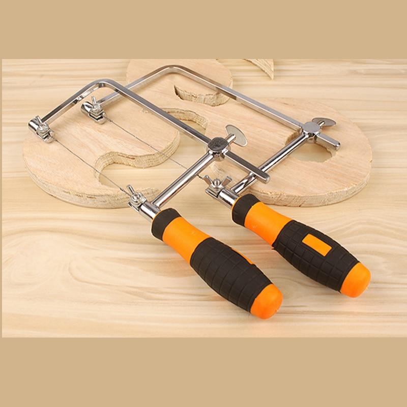 Handsaws metal vidrio Sierra de carpinter/ía multiusos con marco de sierra en forma de U ajustable con 6 hojas de sierra de repuesto en espiral para madera madera