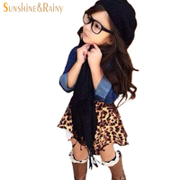 Baby Girls Clothing Sets 3pcs Kids Clothes Leopard Skirts Sets Denim Shirts With Scarf Girls Clothing