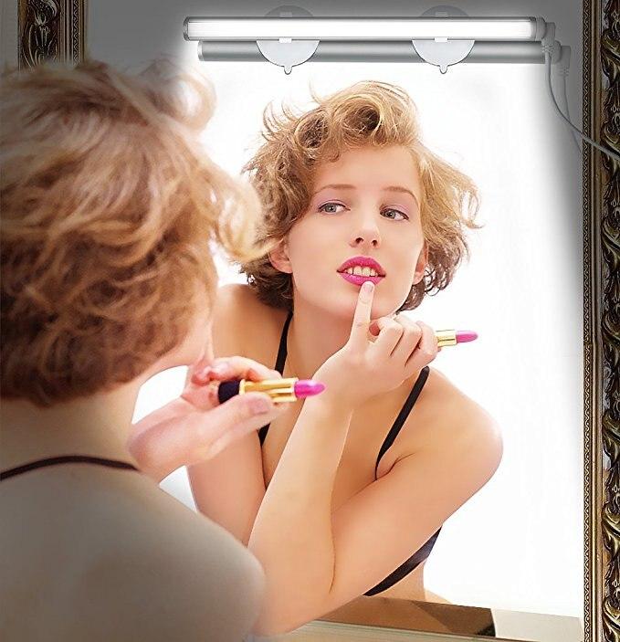Portable Light LED Make Up Light Bathroom Vanity Mirror Light Portable Cosmetic Mirror Light with 3 Level Brightness Dimmable