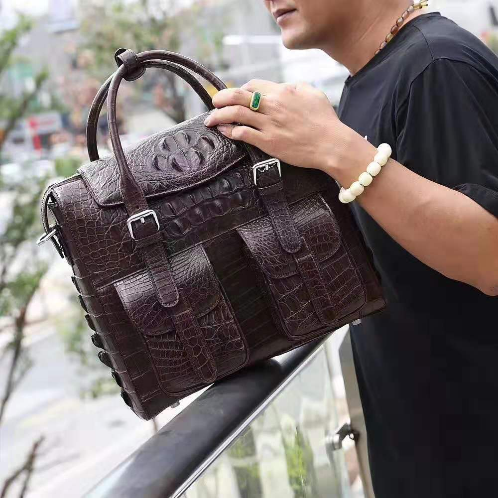 100% Genuine/Real Crocodile Skin Men Bag Briefcase Laptop Bag Leisure Fashion Men Tote  Daily Bag Customized Service Offered