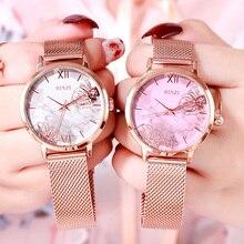 New Women Dress Watches Luxury Brand Fashion Flower Marble Watch Ladies Rose Gold Mesh Steel Quartz Wristwatch relogio feminino стоимость