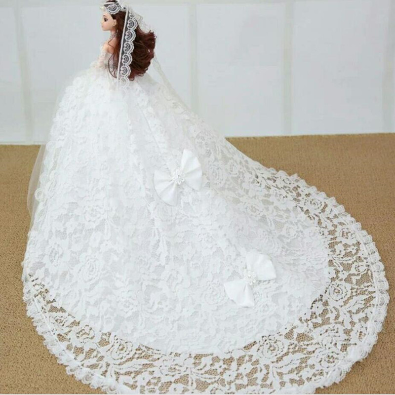 CXZYKING Large Size Doll Barbie Doll With White Lace Dress Handmade Barbie Doll + Wedding Dress Send Accessories free shipping new 10pcs lot white doll stand display holder doll accessories for barbie doll doll supports for barbie