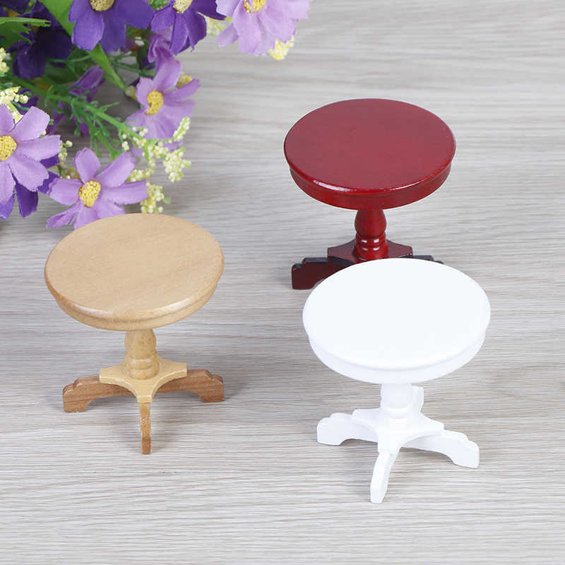 1/12 деревянный кукольный домик миниатюрная мебель круглый кофейный столик стол миниатюры притворяться игрушки сад/украшения комнаты