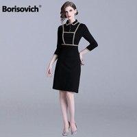 Borisovich Office Lady Elegant Pencil Dress New 2019 Spring Fashion Peter Pan Collar Knee length Women Black Casual Dresses N538