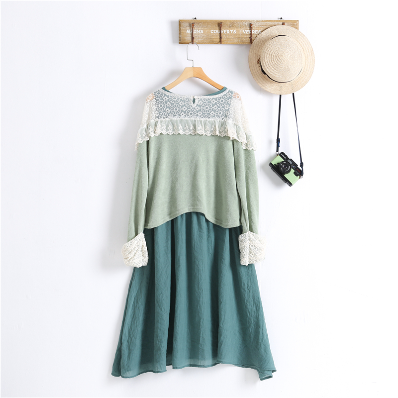 2017 Autumn Original Designer Women Clothing Set Lace Patchwork Knitting Shirt Top And Cotton Linen Dress Two Pieces Set Y03574 Pretty And Colorful