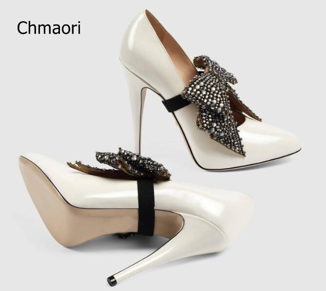 Здесь продается   2017 Latest Women Fashion 120 mm White or Blue Patent Leather Crystal Bow Tie Pointed Toe Slip On Party Pumps Ladies  Обувь