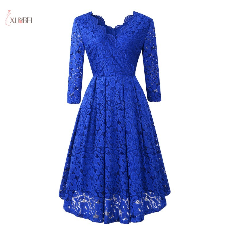 2019 Royal Blue Floral Lace Short Evening Dress V Neck Half Sleeve A Line Evening Gown Robe De Soiree Real Photo In Stock