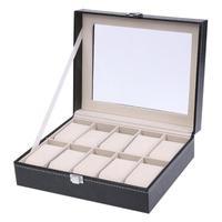 High Quality PU Leather 10 Slots Wrist Watch Display Box Holder Storage Jewelry Dispay Watch Box