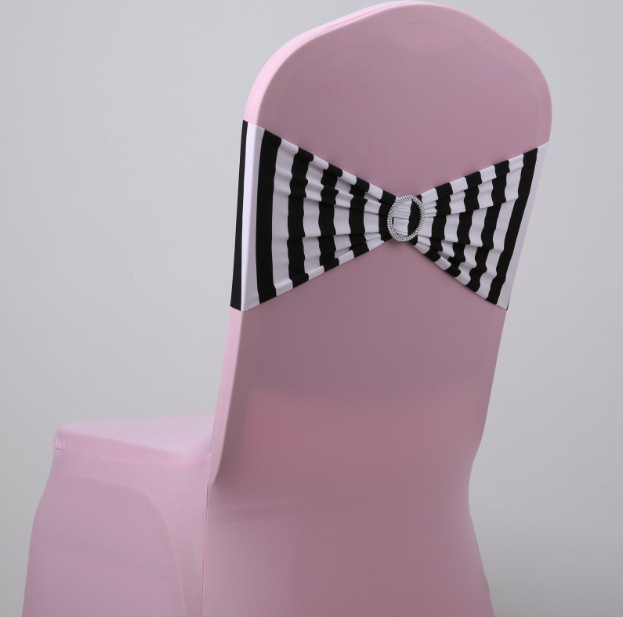 wedding chair sashes with round buckles for chair - Black And White Striped Chair