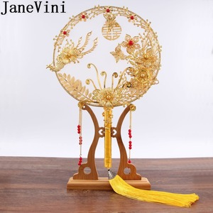 Image 1 - JaneVini abanico de ramo de novia de Boda China tradicional, flores rojas doradas con cuentas, soporte de mano antiguo para novia, para cubrir la cara