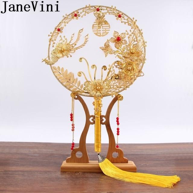 JaneVini abanico de ramo de novia de Boda China tradicional, flores rojas doradas con cuentas, soporte de mano antiguo para novia, para cubrir la cara