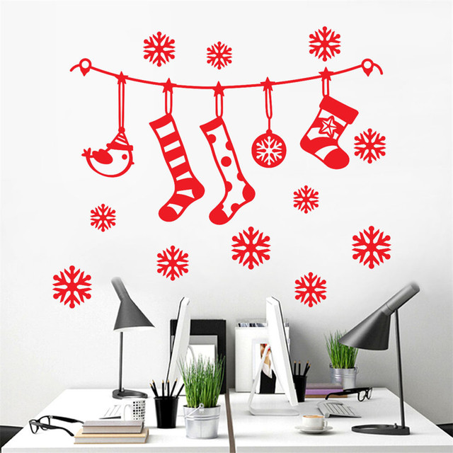 merry christmas wall sticker hanging stockings snowflakes red white