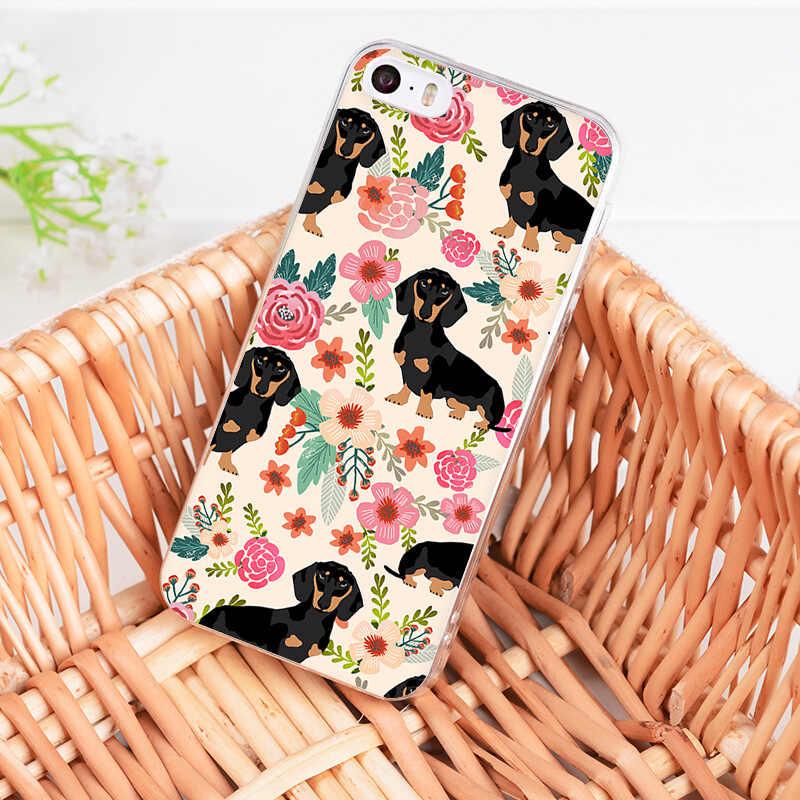 MaiYaCa Dachshund Cão Pugs Padrão de Flor Caso de Telefone para o iphone 11 Pro 8 7 6 6S Plus X 5 5S XS XR XSMAX