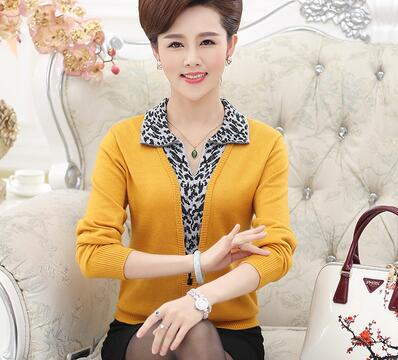 2019 middle and old autumn and winter knitted sweater middle aged mother wearing long sleeved collar