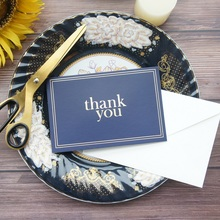 gold 25pcs deep blue simple thank you Card with envelope greeting card wedding birthday party invitation DIY Decor gift
