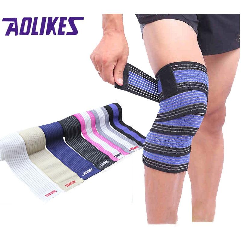 AOLIKES 1PCS Bandagem Elastica Knee Mbrojtës Kasetë Sport Kinesiologic Elastic Band Bandë joelheira vendas deporte