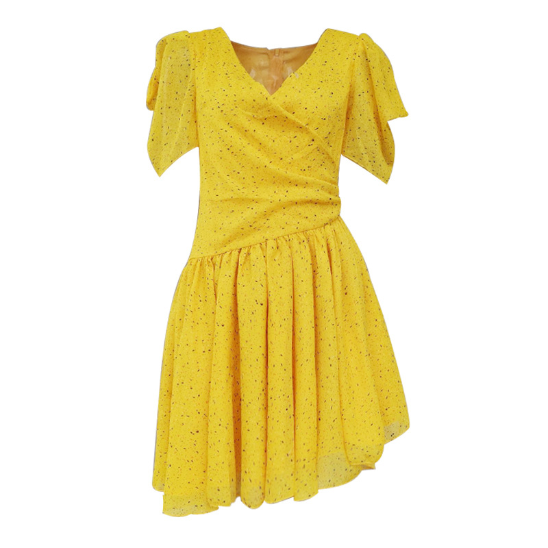 2019 summer dot sexy women dress short sleeve v neck asymmetrical bohemian draped yellow pleated ladies dresses chic vestidos in Dresses from Women 39 s Clothing