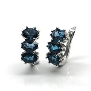 Image 3 - טבעי לונדון טופז הכחולה חן תכשיטי סט פשוט קלאסי טבעות ועגילים 925 סטרלינג רסיס לנשים מתנה
