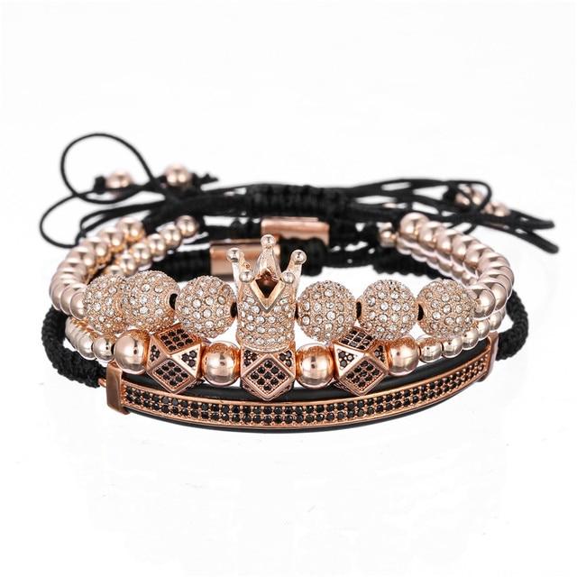 3 шт/компл браслет для пары медные бусины Короны луна Ромб браслеты