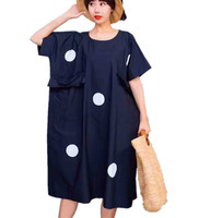 Yesno QQ9 Women Long Maxi Shirt Dress Dots Patchwork 100% Cotton Big Breast Flap Pockets Raglan Sleeve