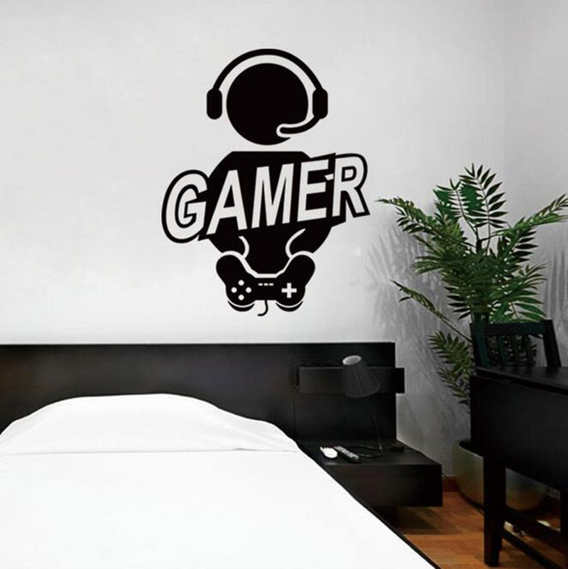 Boy Gamer Vinyl Wall Decal Gamer Play Room Video Games Joystick Fun Mural Art Wall Sticker Kids Bedroom Home Decoration