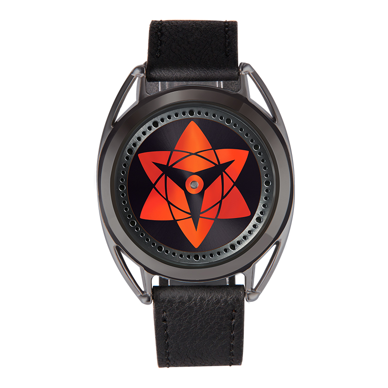 Costume Props Naruto Uchiha Sasuke Sharingan Dynamic Rotate Led Watch Waterproof Touch Screen Digital Light Wristwatch Cosplay Props Gift New Quality First