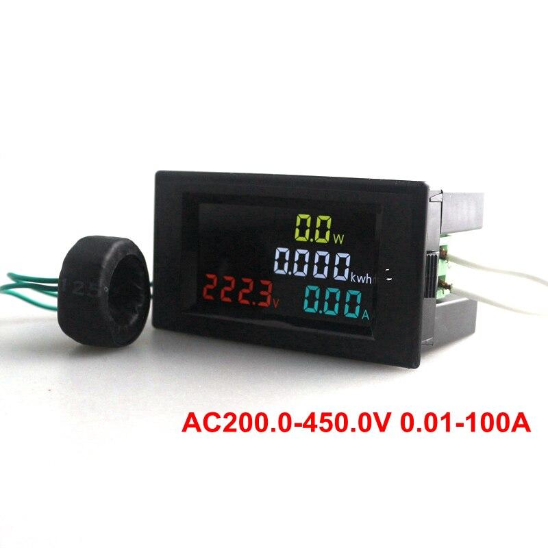 AC200.0-450.0 V 0.01-100A HD Écran Couleur AC Tension Curent Puissance Détecteur D'énergie Jauge Mètre 180 Degrés Impeccable LED