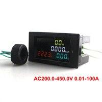 Ac200.0-450.0 В 0.01-100A HD Цвет Экран AC Напряжение текущие Мощность энергии детектор Датчик метр 180 градусов безупречный LED