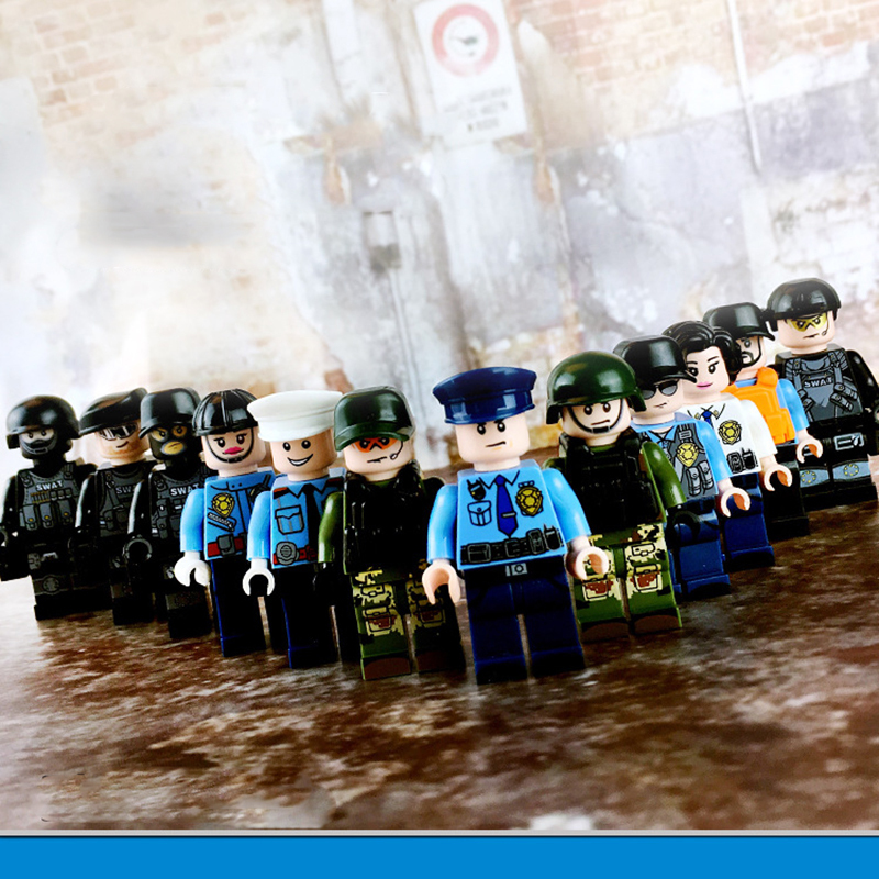 12 Pcs/set DIY Figures City PoliceMan regimental police military officer Building Block Toy Kids Educational City Set Child gift new arrival city swat policeman special forces model police officer tactical unit minifigures building blocks bricks toy for kid