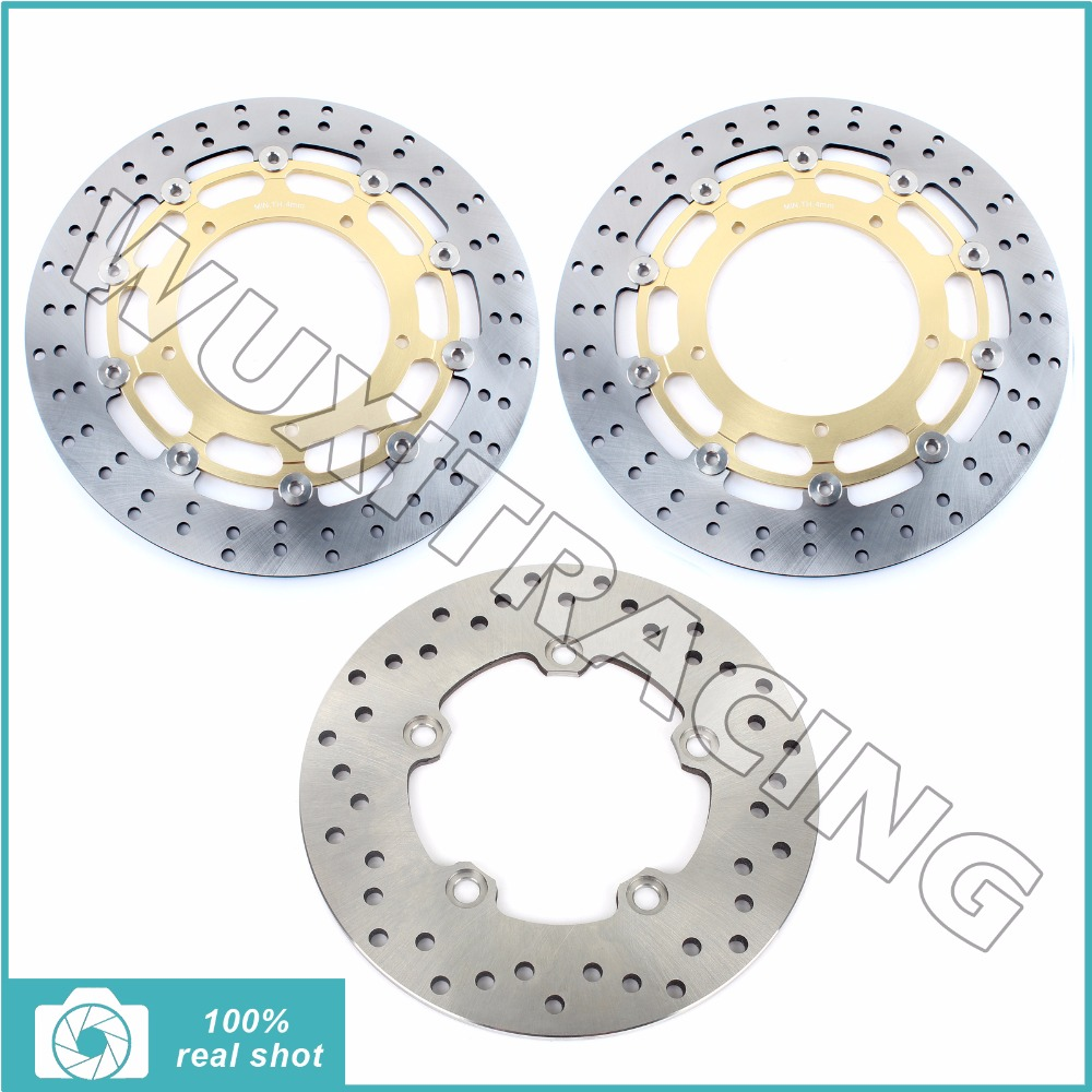 3pcs 04 05 06 Motorcycle New Black / Gold Full Set Front Rear Brake Discs Rotors for YAMAHA YZF R1 1000 2004 2005 2006 black gold motorcycle new front rear full set brake discs rotors for yamaha yzf r1 2002 2003 yzf r6 1999 2000 2001 2002 99 02
