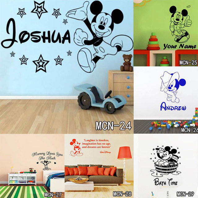 Bebe Mickey Mouse Chaud Personnalise Nom Stickers Muraux Decal