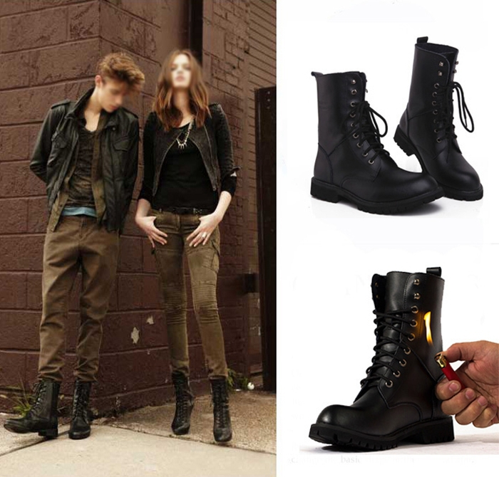 Women Men Motorcycle Boots Fashion Winter Ankle Shoes Women Biker