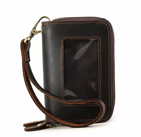 Для мужчин Натуральная кожа организатор кошелек кредитные карты Автомобильный держатель для ключей мода большой многофункциональный кошелек для монет коричневый 9201FS