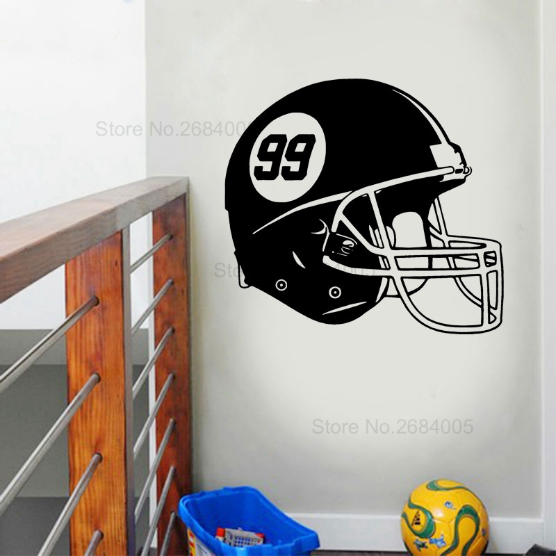 Football Helmet Wall Decal Vinyl Sticker Sports Art Home Interior Decorations Kids Boys Room Bedroom House Decor Wallpaper B661