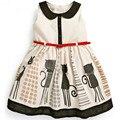 Бесплатная доставка 2017 Европейский новая мода мультфильм cat pattern характер рукавов детская одежда для девочек платье