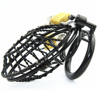 Black Male Chastity Device Cock Ring Penis Ring Lock Stainless Steel Dick Bondage Chastity Cage Penis