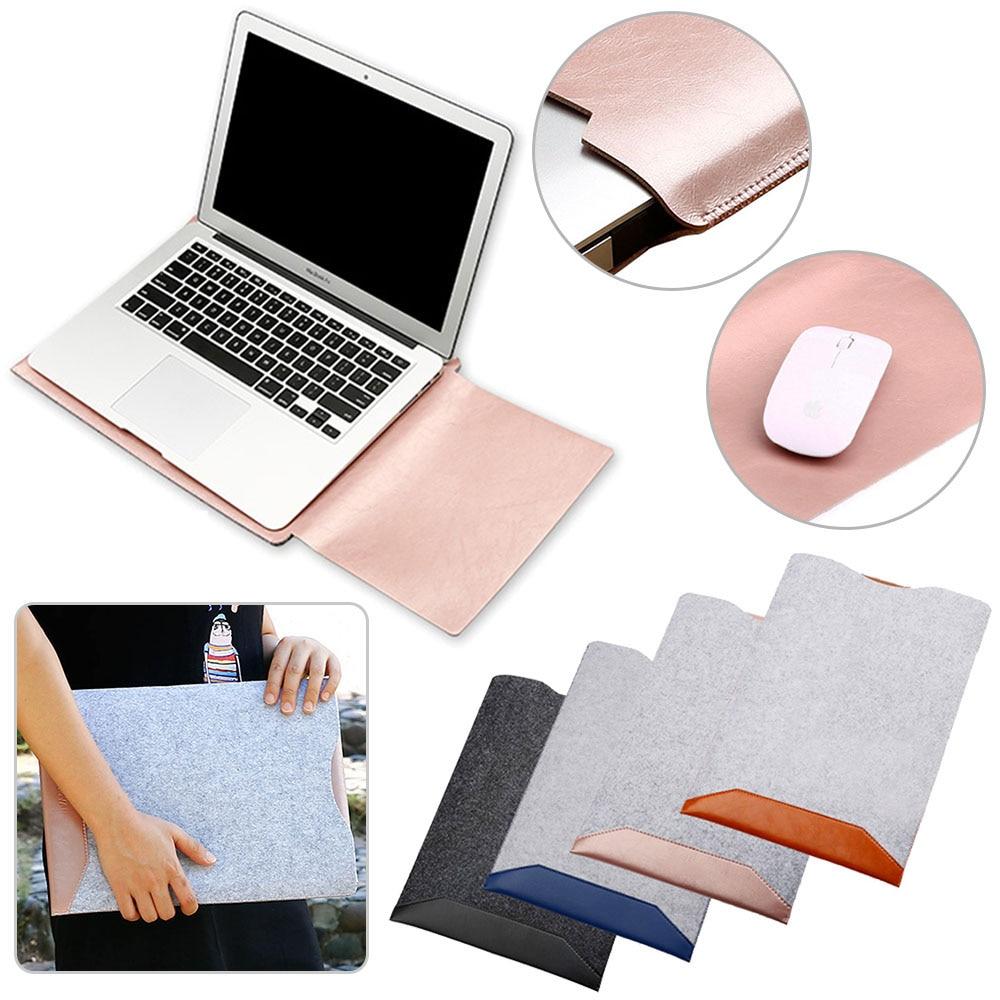 PU Leather Woolen Felt Laptop Bag For Macbook Air 13 11 Pro 13 15 Laptop Case Notebook Bag Computer Bag For Macbook Case Pouch