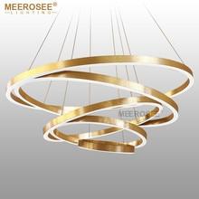 Large Rings LED Chandelier Lights Gold Hanging Lamp for Restaurant Acrylic Circle Lampadario Lustres Lighting