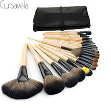 New Makeup Brushes Set Cosmetic Foundation Blush 24Pcs Set With PU Leather Case Wood Handle Cosmetic Tool s Best Quality EAB022