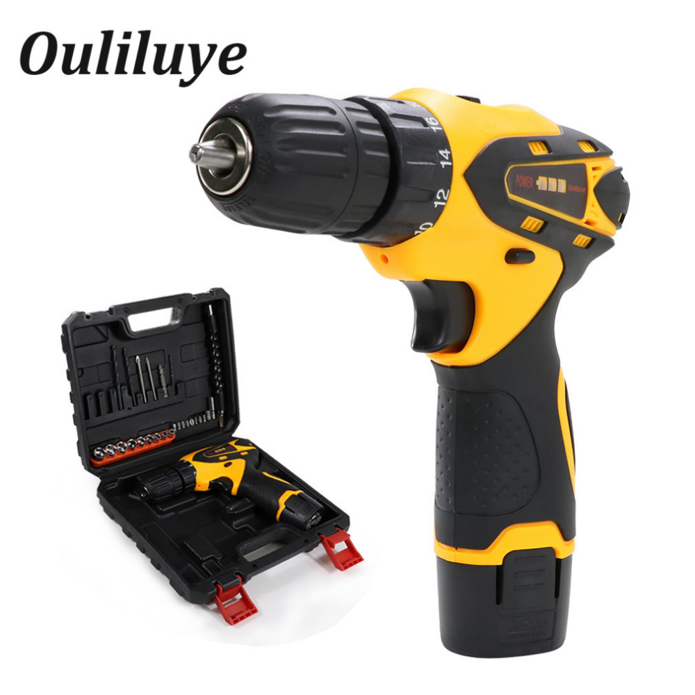 Mini Cordless Electric Drill 12V Wireless Screwdriver Torque Drill Screw Rechargeable Lithium Battery Impact Driver Power