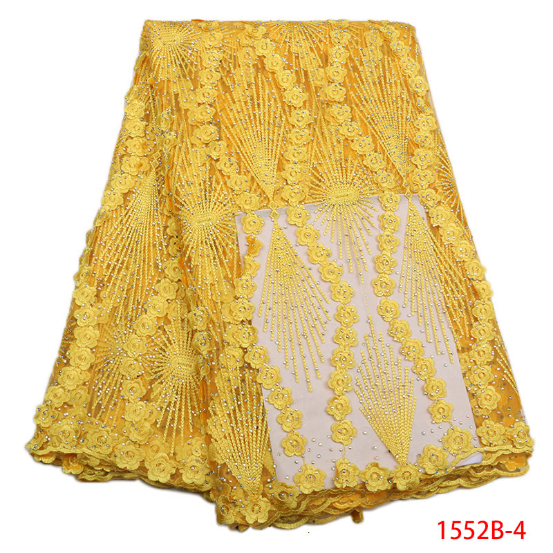 Nigeria Lace Fabric Yellow High Quality 2018 Guipure Lace Embroidery French Party Women Dress With Stones