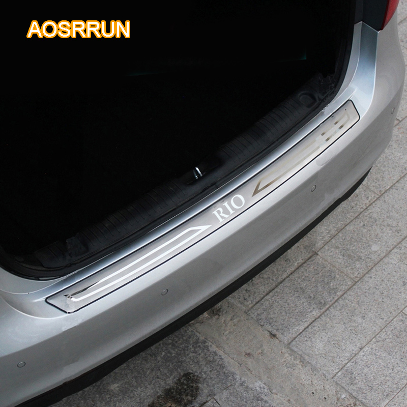 AOSUUUN Free Shipping Car Accessories Stainless Steel Trunk Trim Rear Bumper Sill cover For Kia Rio Sedan 2011-2015 3GEN car rear trunk security shield cargo cover for ssangyong actyon 2008 09 10 11 12 13 14 15 16 2017 high qualit auto accessories